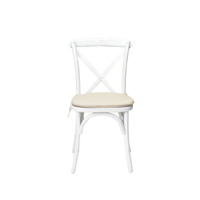 Hibbler Cross Back Stackable Solid Wood Dining Chair Color: White Wash