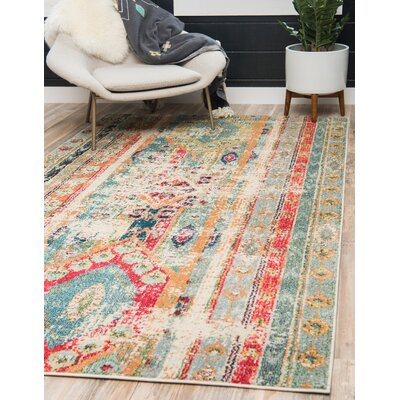 Pilger Blue Area Rug Rug Size: Rectangle 106 x 165