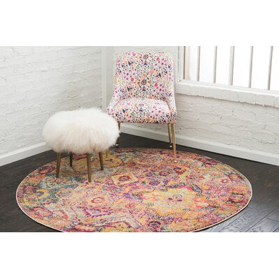 Piland Red/Orange Area Rug Rug Size: Round 6