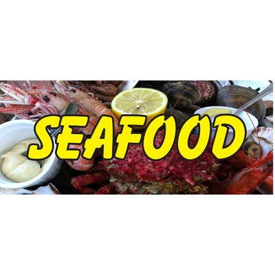 Seafood Lobster Banner Size: 30 H x 72 W x 0.25 D