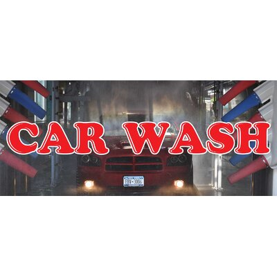 Car Wash Banner Size: 30 H x 72 W x 0.25 D