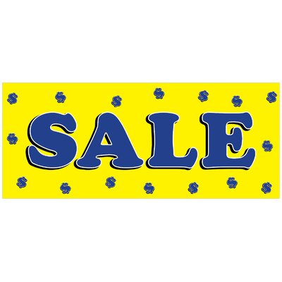 Sale Yellow Banner Size: 30 H x 72 W x 0.25 D
