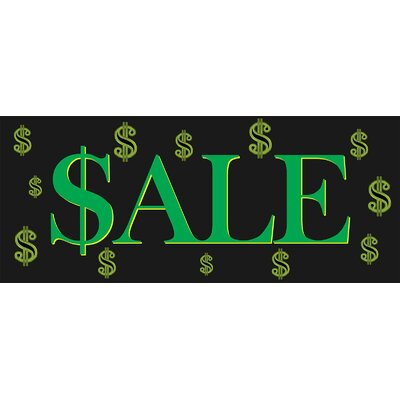 Sale Dollar Sign Banner Size: 30 H x 72 W x 0.25 D