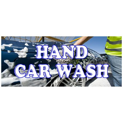Hand Car Wash Banner Size: 30 H x 72 W x 0.25 D