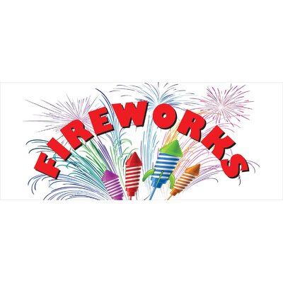 Fireworks Banner Size: 30 H x 72 W x 0.25 D