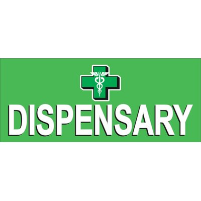 Dispensary Cross Banner Size: 30 H x 72 W x 0.25 D