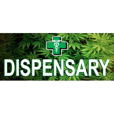 Dispensary Leaves Banner Size: 30 H x 72 W x 0.25 D