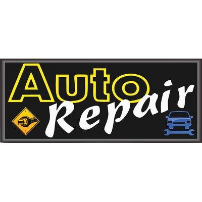Auto Repair Banner Size: 30 H x 72 W x 0.25 D