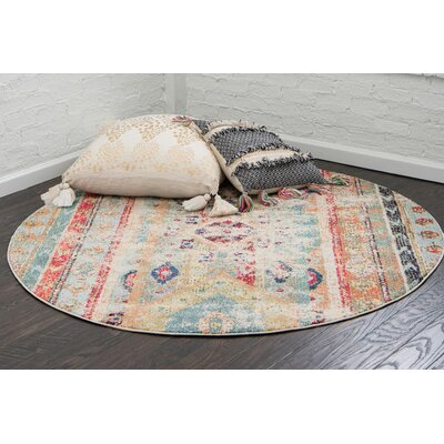 Pilger Blue Area Rug Rug Size: Round 3