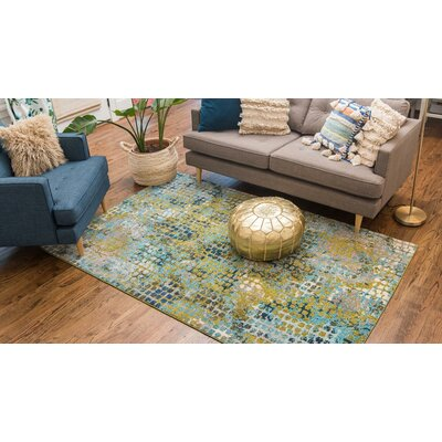 Piotrowski Blue/Green Area Rug Rug Size: Rectangle 106 x 165