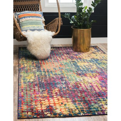 Piotrowski Pink/Blue Area Rug Rug Size: Rectangle 106 x 165