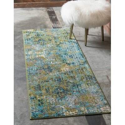Piotrowski Blue/Green Area Rug Rug Size: Runner 22 x 6