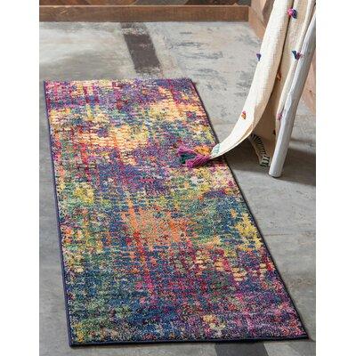 Piotrowski Pink/Blue Area Rug Rug Size: Runner 27 x 10