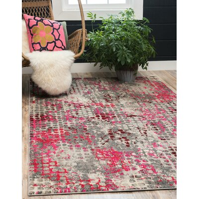 Piotrowski Pink Area Rug Rug Size: Rectangle 106 x 165