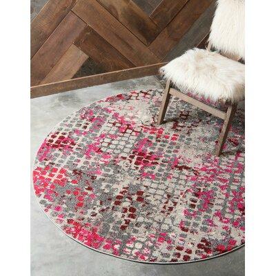 Piotrowski Pink Area Rug Rug Size: Round 8'