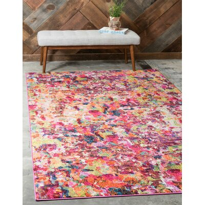 Piotrowski Magenta Area Rug Rug Size: Rectangle 106 x 165
