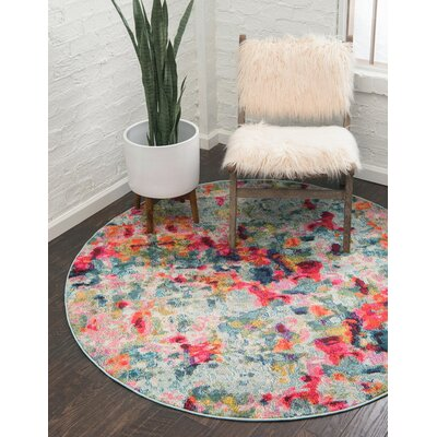 Piotrowski Light Red Area Rug Rug Size: Round 8