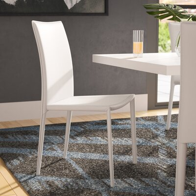Meade Upholstered Dining Chair (Set of 4) Chair Finish: White