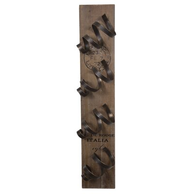 Leela Distressed Spiral 4 Bottle Wall Mounted Wine Rack