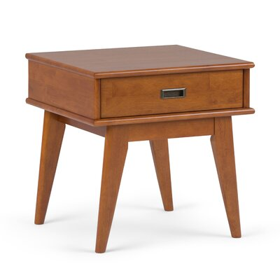 Draper End Table with Storage� Color: Teak Brown