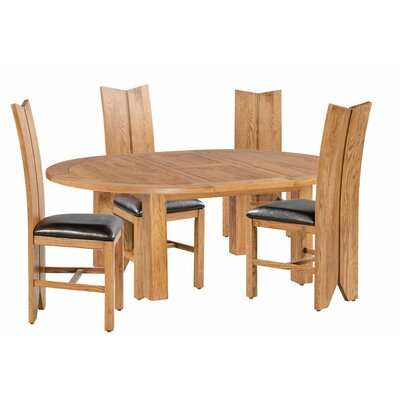 Alicia 5 Piece Extendable Breakfast Nook Dining Set Color: Natural Oak