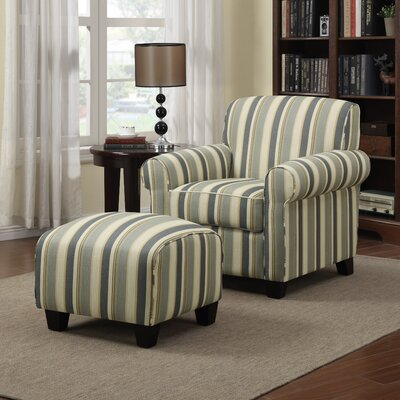 Hummel Armchair and Ottoman Upholstery: Summer Blue Stripe