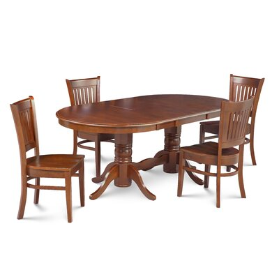 Miriam Solid Wood 5 Piece Extendable Dining Set Color: Brown