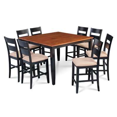 Bennet Wooden 9 Piece Counter Height Extendable Dining Set Table Top Color: Cherry