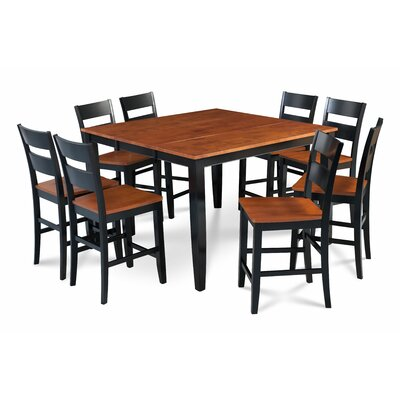 Bennet Solid Wood 9 Piece Counter Height Extendable Dining Set Table Base Color: Black, Table Top Color: Brown