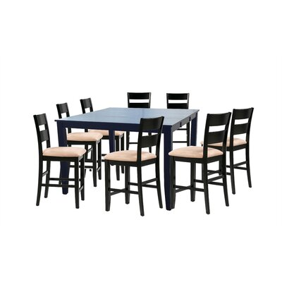 Bennet Wooden 9 Piece Counter Height Extendable Dining Set Table Top Color: Black