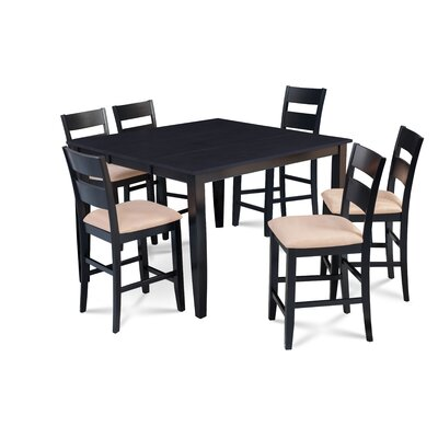 Bennet Wooden 7 Piece Counter Height Extendable Dining Set Table Top Color: Black