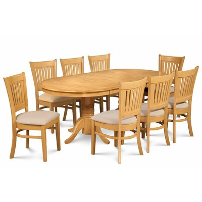 Miriam Wooden 9 Piece Extendable Dining Set Color: Oak