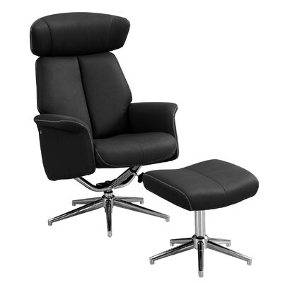 Maag Adjustable Headrest Manual Recliner with Ottoman Upholstery: Black