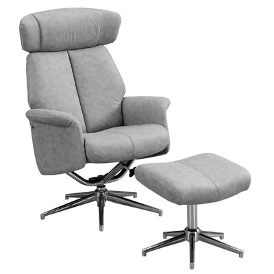 Maag Adjustable Headrest Manual Recliner with Ottoman Upholstery: Gray
