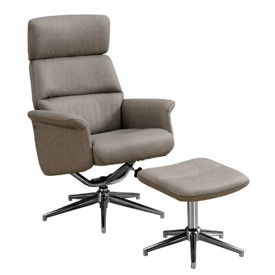 Maag Adjustable Headrest Manual Recliner with Ottoman Upholstery: Taupe