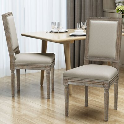 Viveiros Upholstered Dining Chair Upholstery Color: Wheat