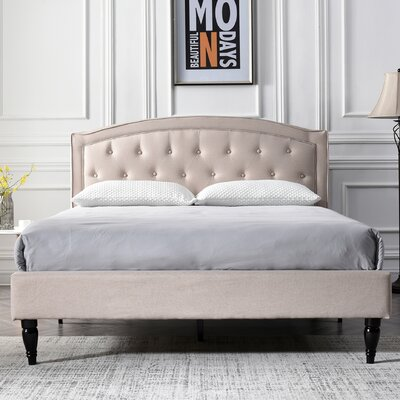 Kincer Upholstered Platform Bed Size: Queen, Color: Off-White