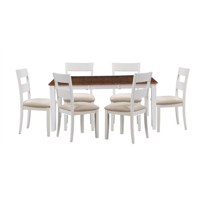 Bennet 7 Piece Extendable Dining Set Table Top Color: Cherry, Table Base Color: White