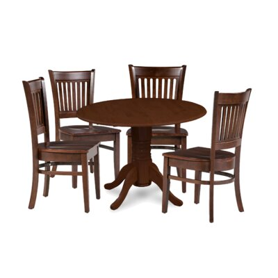 Miriam Solid Wood 5 Piece Drop Leaf Breakfast Nook Dining Set Color: Brown