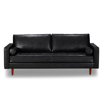 Laguna Hills Genuine Leather Sofa Upholstery: Vintage Black
