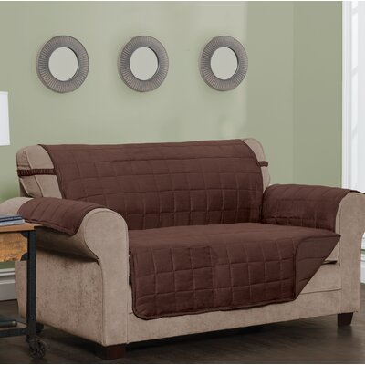 T-Cushion Sofa Slipcover Size: 0.25 H x 120 W x 75.5 D, Upholstery: Chocolate