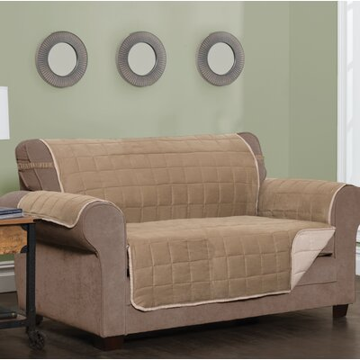 T-Cushion Sofa Slipcover Size: 0.25 H x 120 W x 75.5 D, Upholstery: Natural
