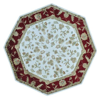 Octagonal Rajasthan and Hand-Knotted Silk Ivory Area Rug