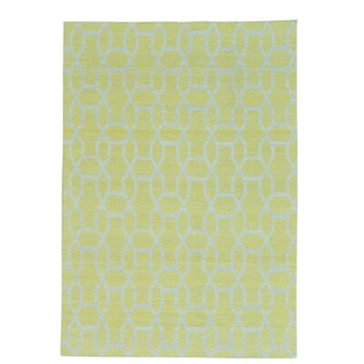 Reversible Kilim Flat Weave Oriental Hand-Knotted Cotton Yellow Area Rug