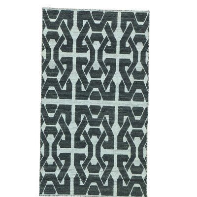 Reversible Flat Weave Kilim Charcoal Hand-Knotted Cotton Black Area Rug