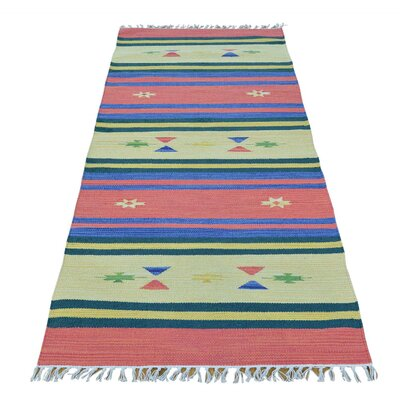 Flat Weave Kilim Southwest Oriental Hand-Knotted Cotton Light Green/Pink Area Rug