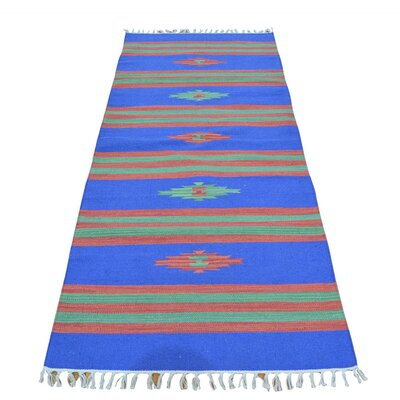 One-of-a-Kind Denning Flat Weave Kilim Oriental Hand-Knotted Cotton Area Rug