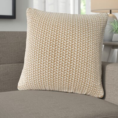 Catron Embroidered Block Throw Pillow Color: Taupe