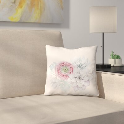 Boho Flower and Succulent Throw Pillow Size: 14 x1 4