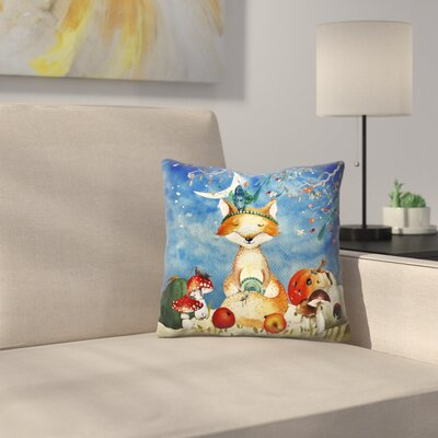 Sleepy Fox in Autumnal Forest Throw Pillow Size: 14 x 14